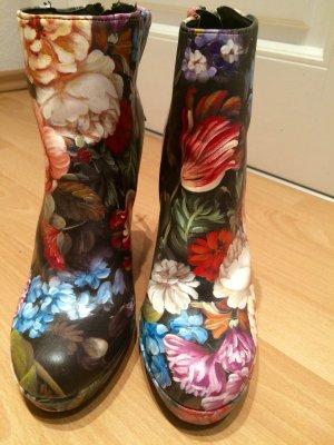 Stiefeletten: unique, Blumenprint,wie D&G, fast neu, Blockabsatz, Fashion
