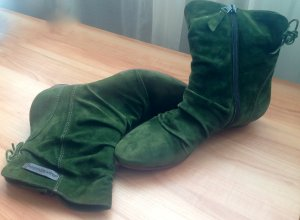Airstep Zipper Booties forest green suede