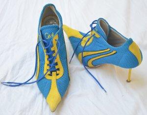 Gianmarco Lorenzi Patucos con cordones azul neón-amarillo Fibra sintética