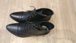 0039 Italy Bottines à lacets noir cuir