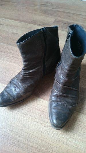 Paul Green Botines estilo vaquero marrón oscuro Cuero