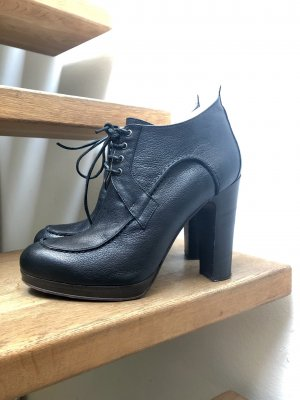 Blue Strenesse Lace-up Booties dark blue leather
