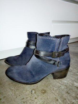 Tamaris Ankle Boots black-dark blue suede