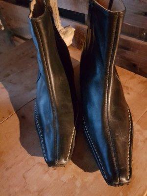 Stiefeletten / Wedges, schwarzes Leder von BELMONDO - Gr. 38