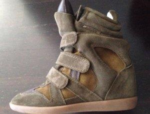 Stiefeletten / Wedges / Sneaker / Keilbsatz Gr. 38 in braun grün khaki oliv