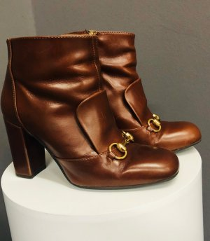 Booties brown-cognac-coloured leather
