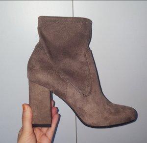 Stiefelletten Stiefel Boots High Heels wildleder 37 hellbraun