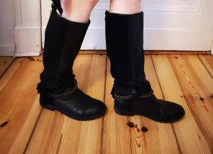 Stiefeln schwarz aus Leder schwarz