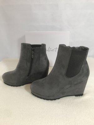 Stiefletten Stiefel Keilabsatz grau