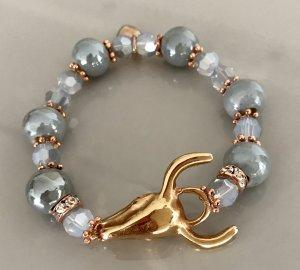 Stierkopfarmband mit tollen grauen Perlen