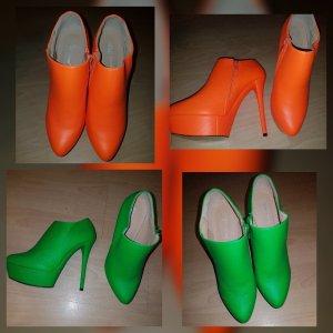 Stivaletto con plateau arancio neon-verde neon