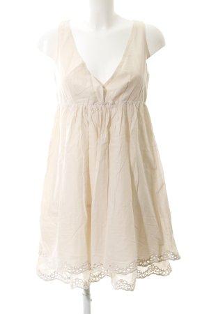 Stile Benetton A-Linien Kleid creme Lochstrickmuster schlichter Stil