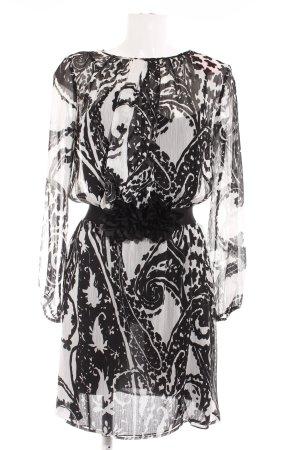 Stile Benetton Blusenkleid weiß-schwarz Aztekenmuster Casual-Look