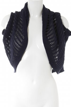 Stile Benetton Crochet Cardigan dark blue loosely knitted pattern casual look
