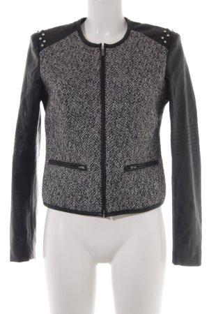 Stile Benetton Kunstlederjacke schwarz-wollweiß meliert Casual-Look