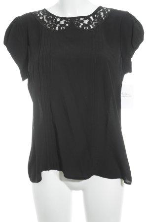 Stile Benetton Kurzarm-Bluse schwarz Elegant