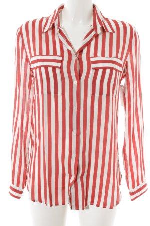 Stile Benetton Langarmhemd rot-weiß Streifenmuster Casual-Look