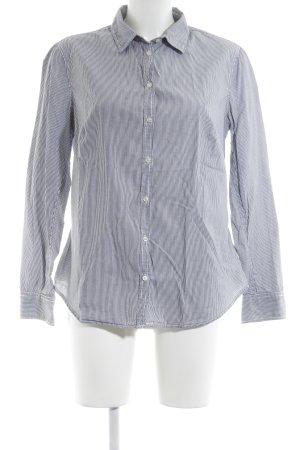Stile Benetton Langarmhemd weiß-dunkelblau Nadelstreifen Business-Look