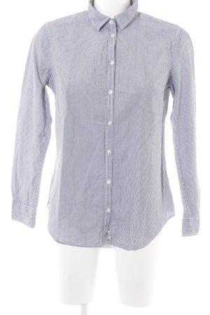 Stile Benetton Langarmhemd weiß-stahlblau Streifenmuster Business-Look