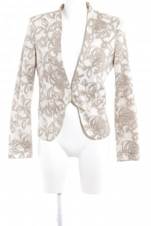 Stile Benetton Long-Blazer beige-hellbeige florales Muster Business-Look