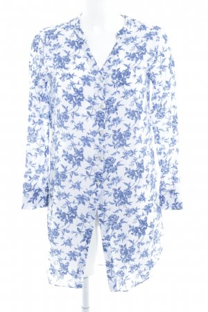 Stile Benetton Long-Bluse weiß-blau florales Muster Casual-Look