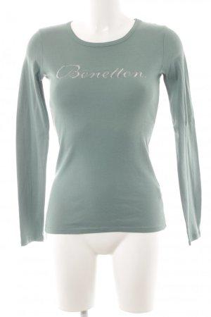 Stile Benetton Longsleeve graugrün Schriftzug gedruckt klassischer Stil