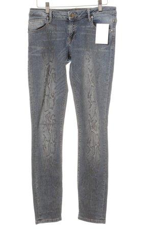Stile Benetton Jeans a sigaretta blu pallido-grigio stampa astratta