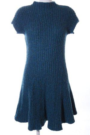 Stile Benetton Strickkleid blau Zopfmuster Casual-Look