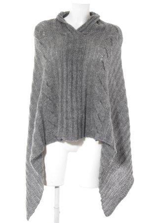 Stile Benetton Poncho in maglia grigio chiaro-grigio spina di pesce stile casual