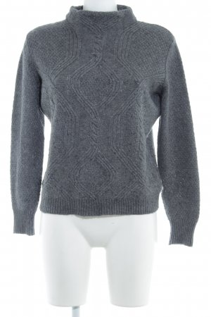 Stile Benetton Strickpullover dunkelgrau Zopfmuster Casual-Look