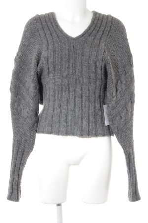 Stile Benetton Strickpullover grau Zopfmuster Casual-Look