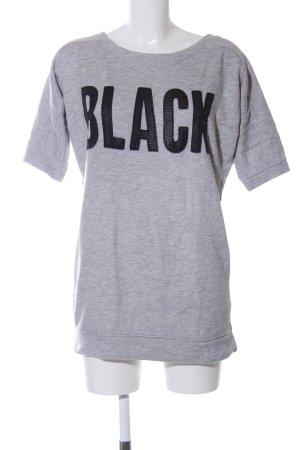 Stile Benetton Sweatshirt hellgrau-schwarz Schriftzug gedruckt Casual-Look