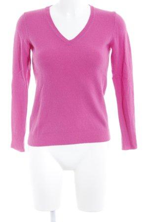 Stile Benetton V-Ausschnitt-Pullover pink Kuschel-Optik
