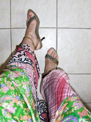 Sandalo con cinturino verde oliva-marrone Sintetico