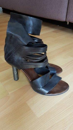 A.S.98 Hoge hakken sandalen zwart-bruin