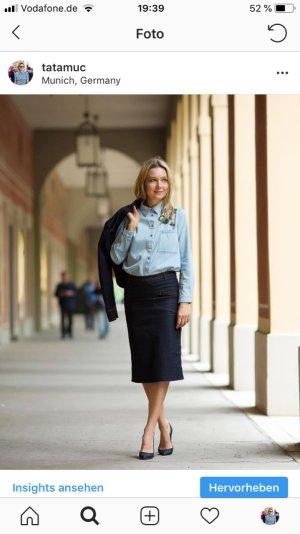 Stilvolle Hemdbluse in Denimoptik mit Pailletten-Stickerei - Zara