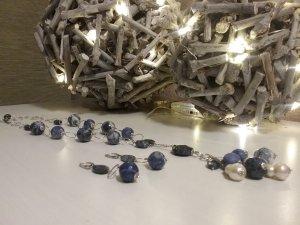 Stilvolle  Kette mit Ohrringe aus 925er Silber, Amazonit und Weiße  Perlen