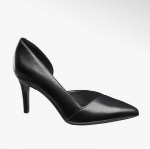 5th Avenue Pointed Toe Pumps black leather