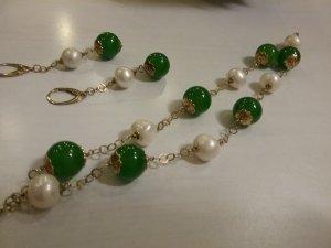 Stilvolles Armband mit Ohrringe aus 925er Silber mit Perlen und grüne  Agate