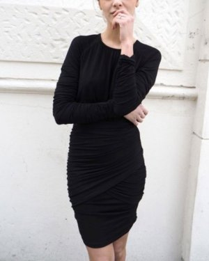 Stine Goya Vestido de tela de jersey negro Algodón