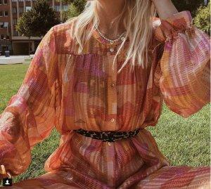 Stine Goya Kleid Blusenkleid in Rosa Orange Gold Metallic Gold ohne Gürtel S