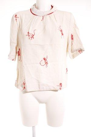 Stine Goya Schluppen-Bluse weiß-rot Motivdruck Casual-Look