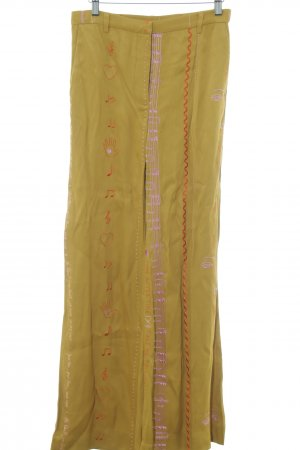 Stine Goya Pantalón tipo suéter marrón arena letras bordadas look retro