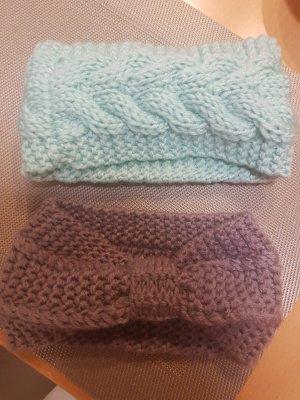 Bonnet en crochet gris lilas-vert menthe