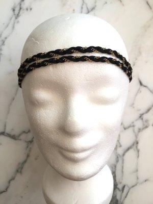 Accessorize Ribbon black-gold-colored imitation leather