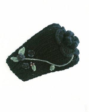 stirnband • beanie • true vintage • schwarz • strick • bohostyle • hippielook • flowers