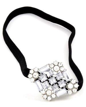 Stirnband Haarband Haarschmuck Stretch Hair Band Silber Kristall Klar Transparent 3,8 cm breit