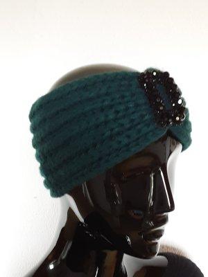 Chapeau en tricot noir-bleu pétrole