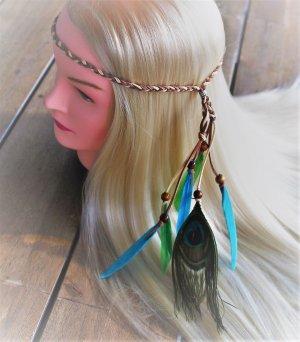 Stirnband Pfau Feder Haarfedern Hippes Hairstyling Hippie Haarband Indianer Pocahontas Kopfschmuck Indian Style Ethnostil Featherheads Haarschmuck Haare Festival Boho Feder Federn