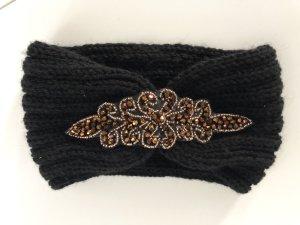 Stirnband schwarz braun Glitzer Neu Strick